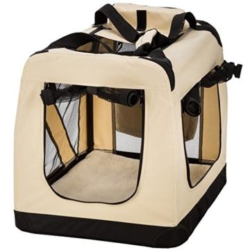 TecTake Faltbare Hundetransportbox Transportbox beige 60 x 41 x 51 cm